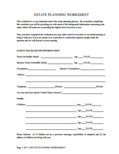 Worksheets Estate Planning Worksheet estate planning worksheet james f taylor worksheet